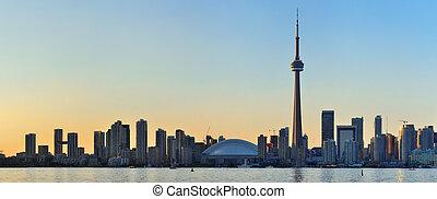 Toronto skyline - Toronto sunset over lake panorama with ...