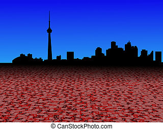 Toronto skyline with abstract dollar currency foreground illustration