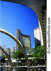 Toronto skyscrapers - Nathan Phillips Square, Toronto,...