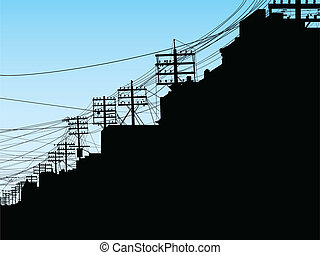 Toronto Street - Silhouette of poles and wires on College...