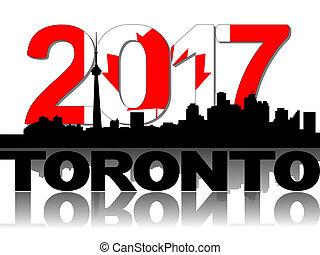 Toronto, texte, Horizon,  Illustration, drapeau,  2017
