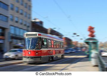 toronto, tramvaj, doprava