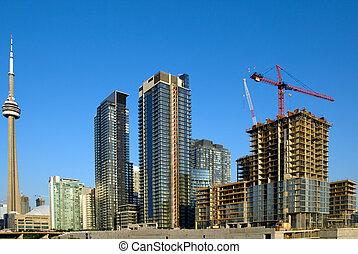 toronto, utveckling, hastig, hjärta, nymodig, -, plats, i centrum, highrise, konstruktion, stad