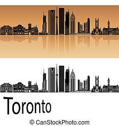 Toronto V2 skyline in orange background in editable vector...