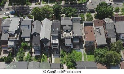 toronto, voisinage, coup, establishing, pendant, aérien,...