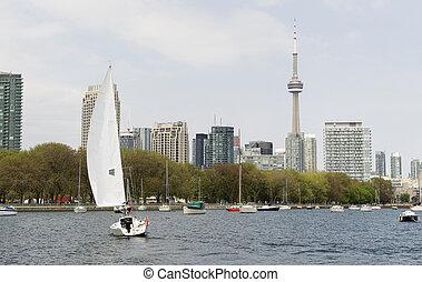 toronto, waterfront, noha, vitorlás hajó