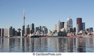 Toronto waterfront. - View of Toronto from the east. Sunny...