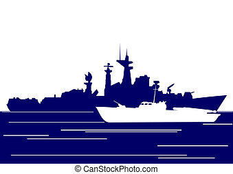 Ships of the Navy. The illustration on the military theme.
