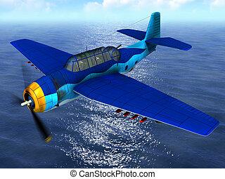 Torpedo bomber fly