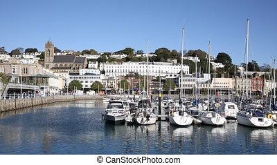Torquay Devon UK harbour with boats and yachts English...