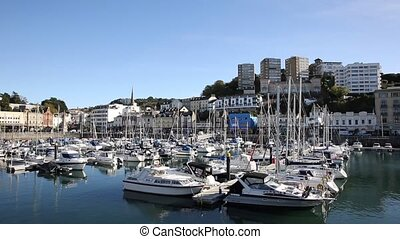 Torquay Devon UK marina with boats and yachts on beautiful...