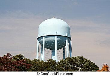 torre água, com, claro, rosto