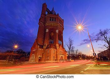 torre água, de, wroclaw, polônia