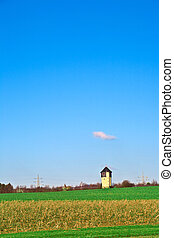 torre água, em, paisagem rural