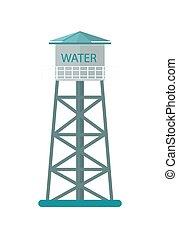 torre água, vetorial, agricultura, ícone