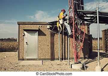 torre, arrampicatore, cominciando, modo, su