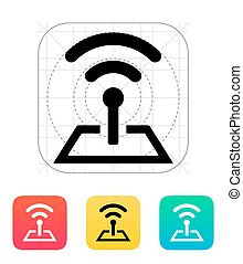 torre, base, radio, icon.
