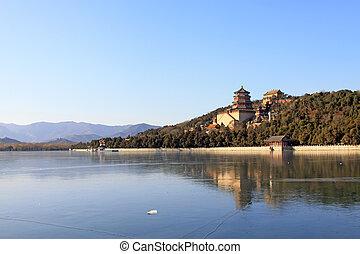 torre, budista, lago, congelado, incienso, kunming