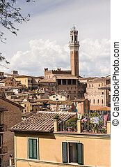 torre, campana, toscana, aldea