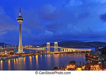torre, cielo azul, debajo, asia., paisaje de río, famoso, macao, urbano, viajar, macao