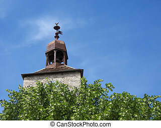 torre, colina, campana