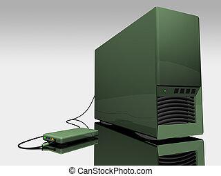 torre, computadora, verde