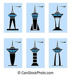 torre controle, ícones