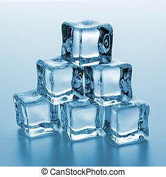 torre, cubos, gelo
