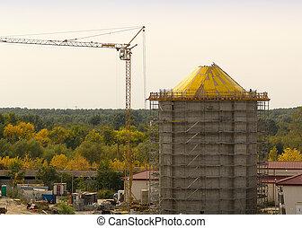 torre de agua, construcción, andamio