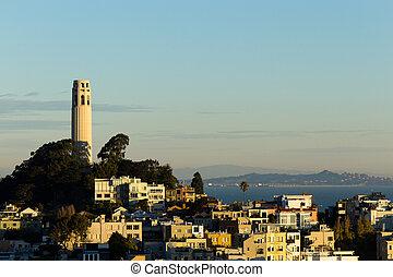 torre del coit, en, colina de telégrafo