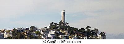 torre del coit, en, colina de telégrafo, panorama