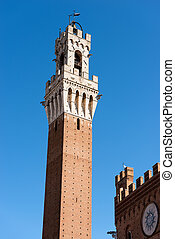 Torre del Mangia - Siena Toscana Italy - Detail of the Torre...