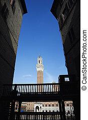 Torre del Mangia tower. - Torre del Mangia tower framed by...