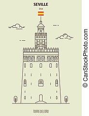 Torre del Oro in Seville, Spain. Landmark icon in linear style