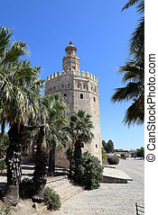 Torre del Oro or Golden Tower (13th century), a medieval ...