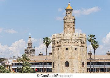 Torre del Oro, Sevilla, Guadalquivir river, Tower of gold, Seville, Spain