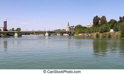 Torre del Oro or Golden Tower (13th century) over Guadalquivir river, Seville, Andalusia, southern Spain