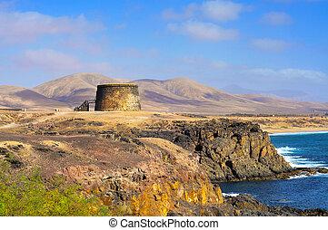 Torre del Toston castle in El Cotillo, Fuerteventura, Canary Islands, Spain