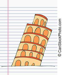 torre, desenho, pisa