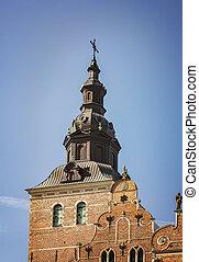 torre, detalhe, igreja