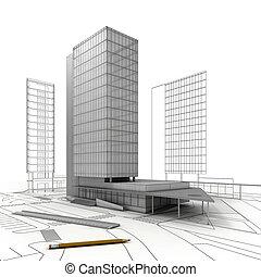 torre, edificio, con, proyecto