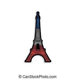 torre, eiffel, bandera, etiqueta