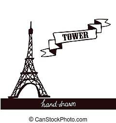 torre, eiffel, bosquejo