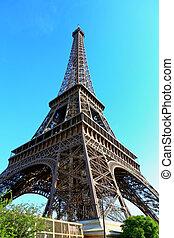 torre eiffel, con, cielo azul