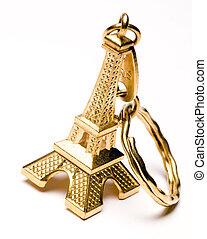 torre, eiffel, corrente chave, lembrança