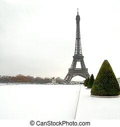 torre eiffel, debajo, nieve, -, parís