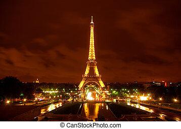 torre eiffel, em, cedo, amanhecer, -, paris