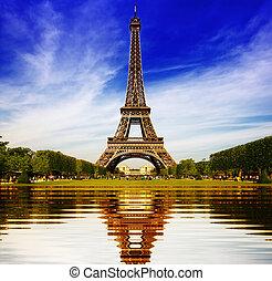 torre eiffel, em, paris, abstratos, reflexão