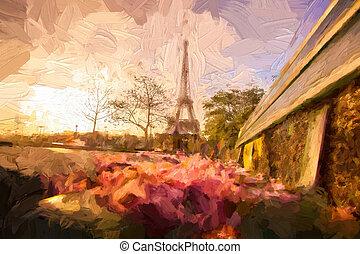 torre eiffel, en, ilustraciones, estilo, en, parís, francia