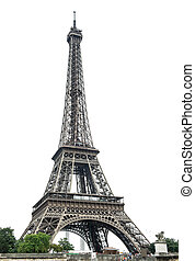 torre eiffel, encima, fondo blanco